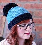 Knit Two-toned Oversized Pom Pom Beanie Hat - Navy and Sky Blue