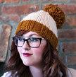 Knit Two-toned Oversized Pom Pom Beanie Hat - Golden Orange and Cream