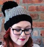 Knit Two-toned Oversized Pom Pom Beanie Hat - Black and Light Grey