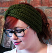 Chunky Knit Turban Headband Earwarmer - Olive Green
