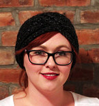 Chunky Knit Turban Headband Earwarmer - Charcoal Sparkle
