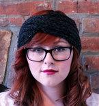 Chunky Knit Turban Headband Earwarmer - Charcoal