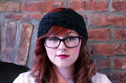 Chunky Knit Turban Headband Earwarmer - Charcoal
