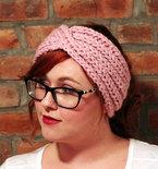 Chunky Knit Turban Headband Earwarmer - Blossom Pink
