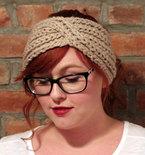 Chunky Knit Turban Headband Earwarmer - Beige