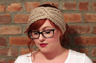 Chunky Knit Turban Headband Earwarmer - Beige