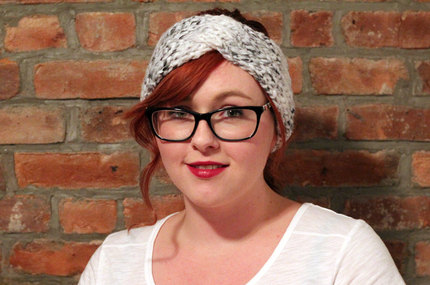 Chunky Knit Turban Headband Earwarmer - Grey Tweed