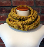 Hand Knit Long Infinity Scarf - Deep Yellow