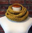 Hand Knit Long Infinity Scarf - Deep Yellow