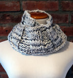 Hand Knit Long Infinity Scarf - Grey Tweed