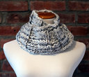 Hand Knit Long Infinity Scarf - Grey Tweed
