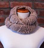 Hand Knit Long Infinity Scarf - Beige