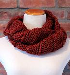 Hand Knit Long Infinity Scarf - Burnt Orange