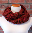 Hand Knit Long Infinity Scarf - Burnt Orange