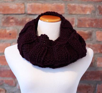 Hand Knit Long Infinity Scarf - Deep Purple