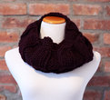 Hand Knit Long Infinity Scarf - Deep Purple