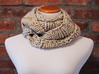 Hand Knit Long Infinity Scarf - Oatmeal