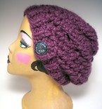 Chunky Slouch Hat With Button Tab - Fig Purple
