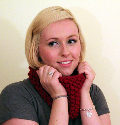 Hand Knit Infinity Cowl Scarf - Deep Red