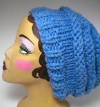 Knit Three Tier Slouch Hat - Sky Blue