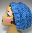 Knit Three Tier Slouch Hat - Sky Blue