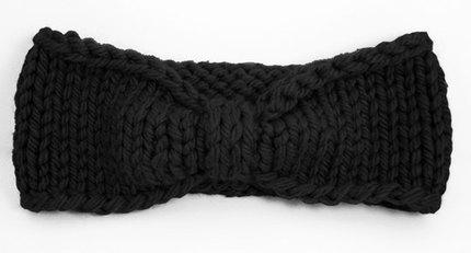Turban Knot Bow Headband Earwarmer - Black
