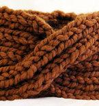 Chunky Knit Turban Headband Earwarmer - Golden Brown