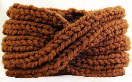 Chunky Knit Turban Headband Earwarmer - Golden Brown