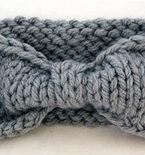 Turban Knot Bow Headband Earwarmer - Light Grey