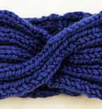 Chunky Knit Turban Headband Earwarmer - Cobalt Blue