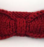 Turban Knot Bow Headband Earwarmer - Deep Red