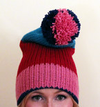 Slouchy Knit Beanie Hat - Blue, Pink, Red, and Turquoise