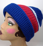 Sports Nut Reversible Slouchy Knit Beanie Hat - Red, Blue, and White