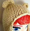 Adult Size Knit Bear Earflap Hat - Cream