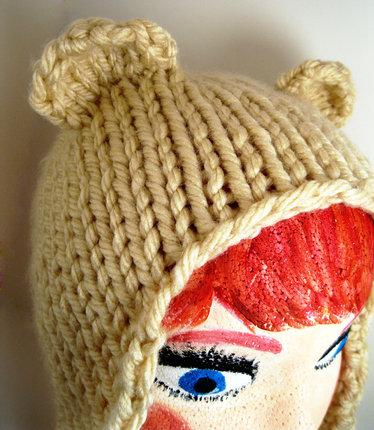 Adult Size Knit Bear Earflap Hat - Cream