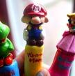 Super Mario, Yoshi, and Princess Peach Polymer Crochet Hook Handle Set
