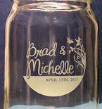Custom Hand Etched Mason Jar for Weddings