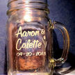 Custom Hand Etched Glass Mason Jar with Handle