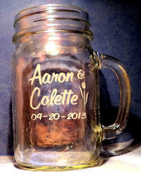 Custom Hand Etched Glass Mason Jar with Handle
