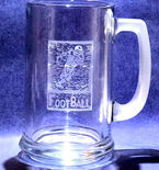 Hand Etched Football Beer Mug Stein