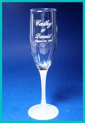 Custom Hand Etched Champagne Fluted Glass
