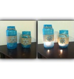 Blue Mason Jar Candles - Shabby Chic Decor