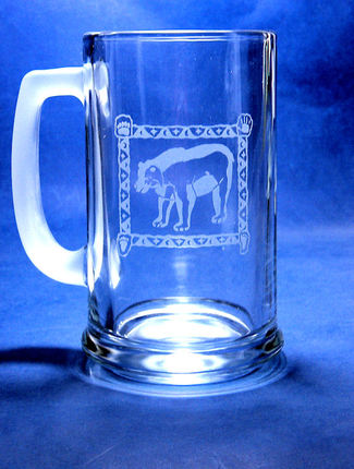 Hand Etched Bear Spirit Animal Glass Beer Mug Stein