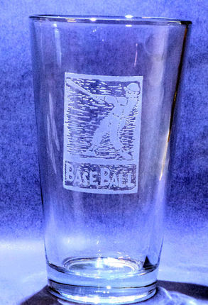 Handmade Etched Glass BaseBall Pint Glass