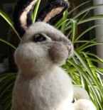 "Large Easter Bunny -  14"" Needle Felted Wool"