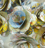 Upcycled Map Paper Flowers with Leaves