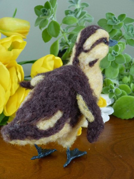 Cute Needle Felted Mallard Duckling Wool Sculpture
