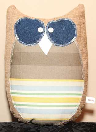 Abel Owl Plushie handmade from Upcycled High Quality Fabrics