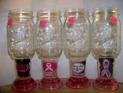 Breast Cancer Mason jar glasses