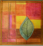 """Leaf"" mixed media fabric painting"